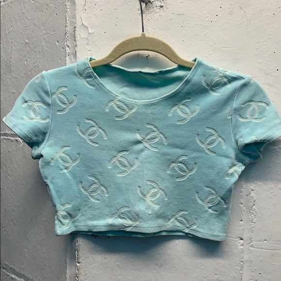 93ce33e6f9980 CHANEL Tops - Chanel Velour Blue Crop Top